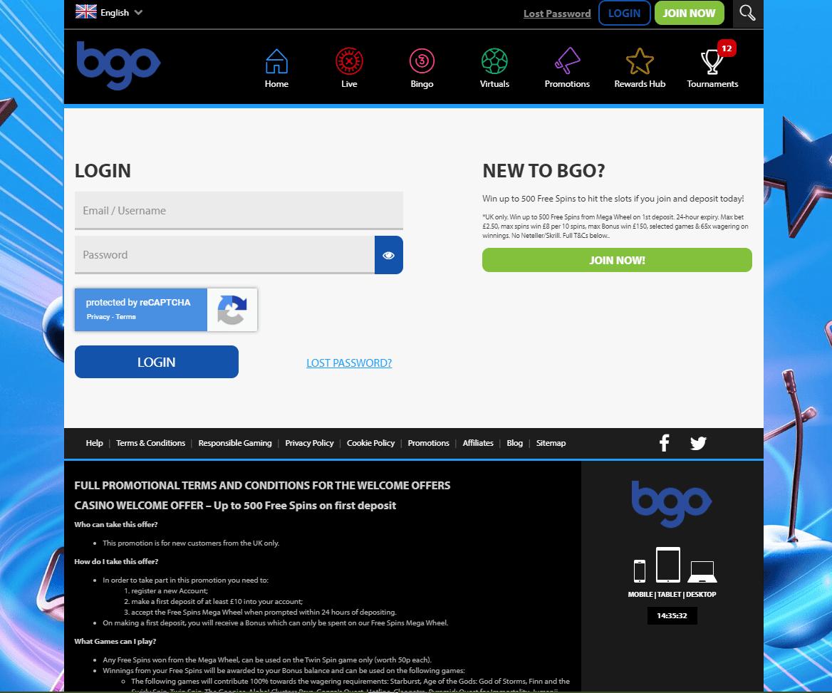 bgo bingo login