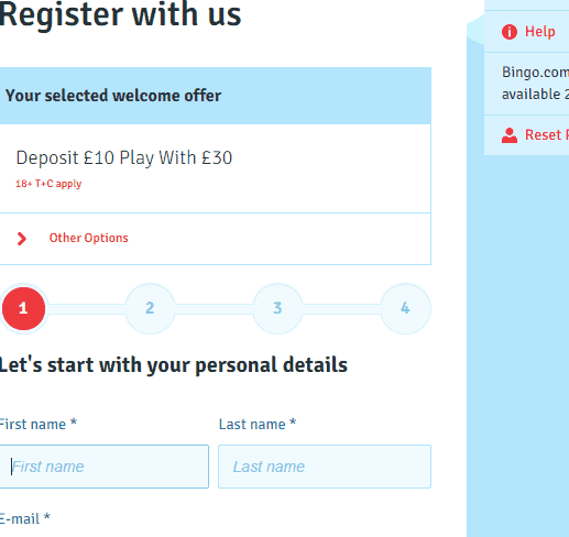 bingo sign up