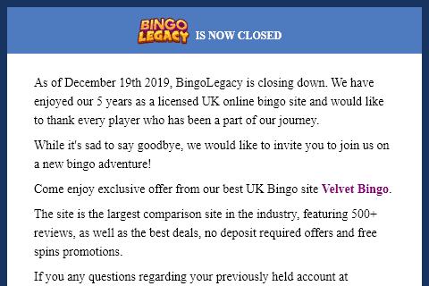 bingo legacy front image