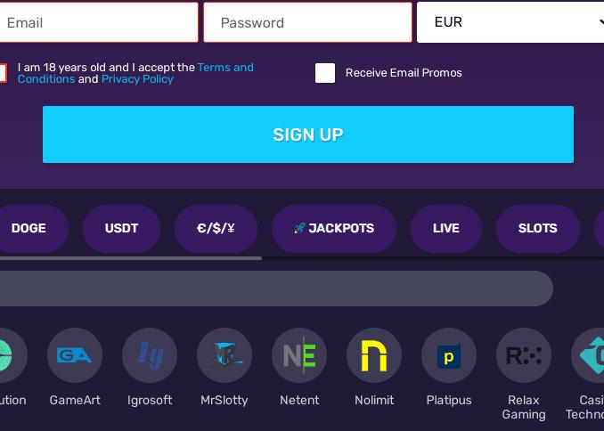 bitcoin casino sign up
