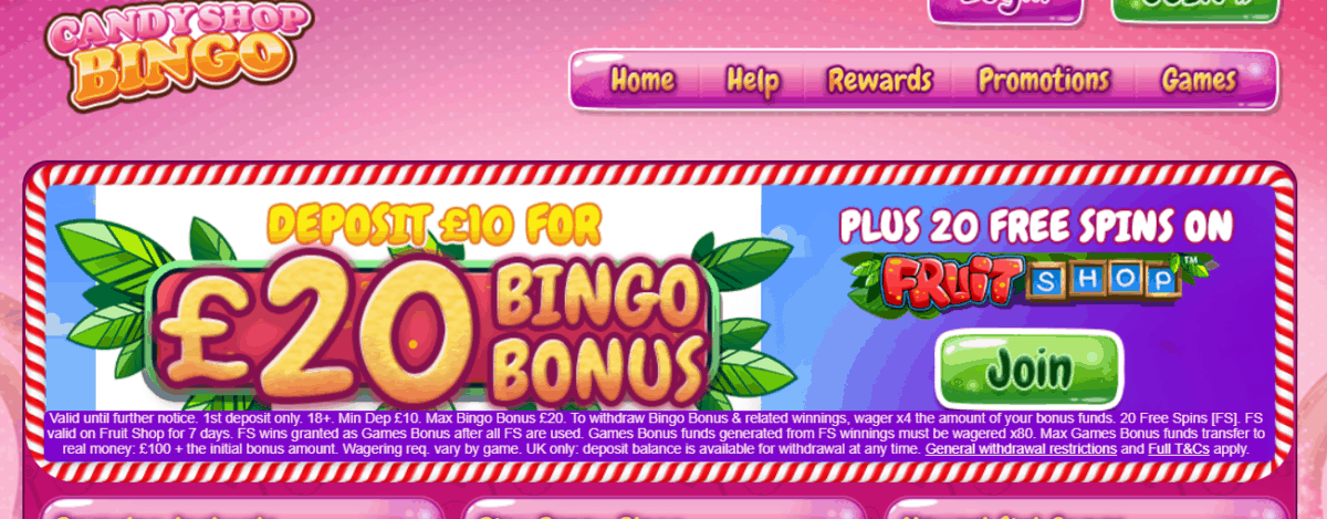 candy shop bingo promo