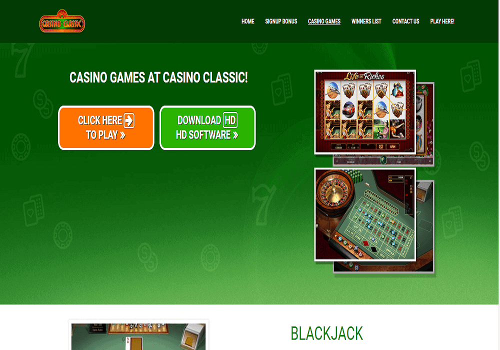 Luxury Casino games page