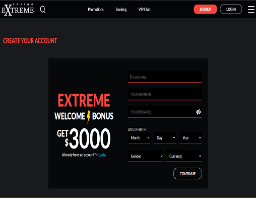 Luxury Casino sign up page