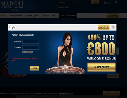 Bronze Casino login page