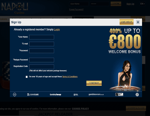 Bronze Casino sign up page