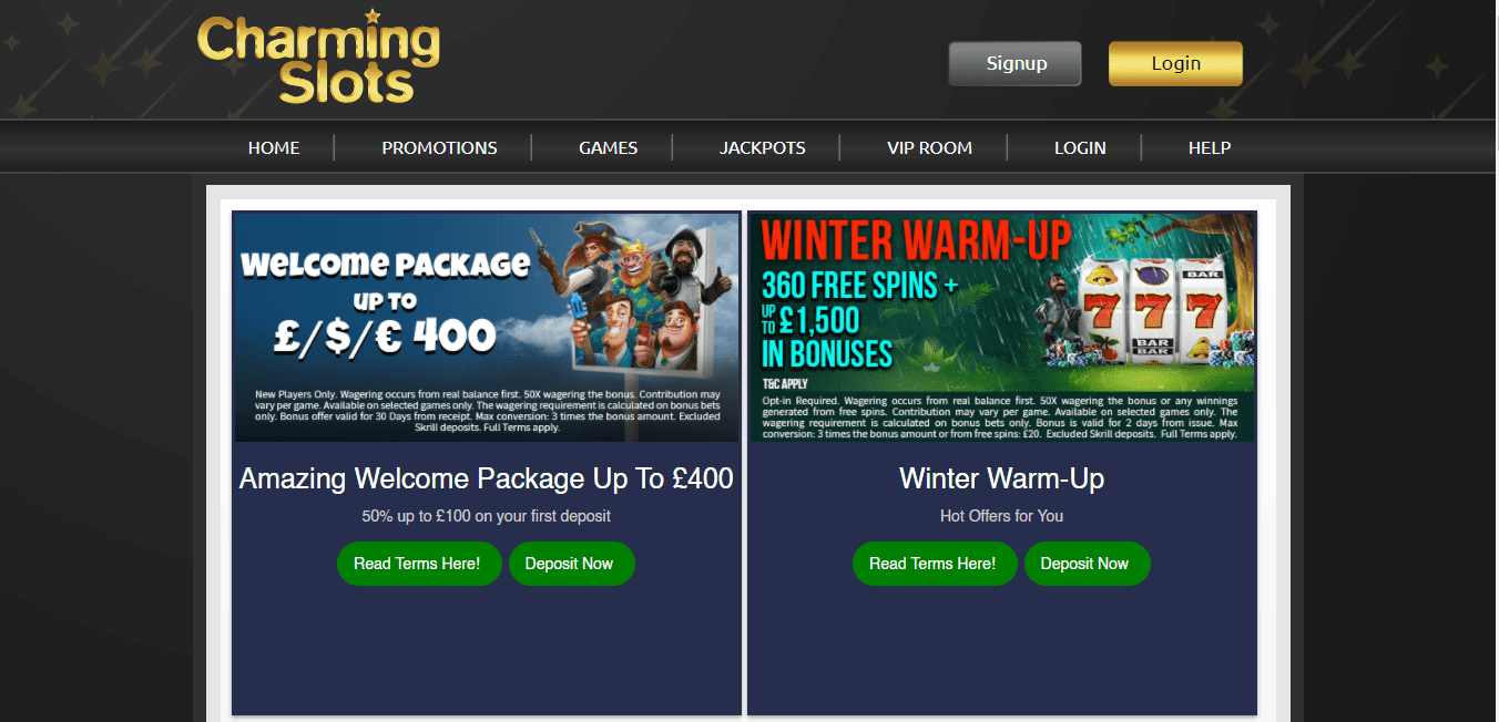 charming slot promotion page