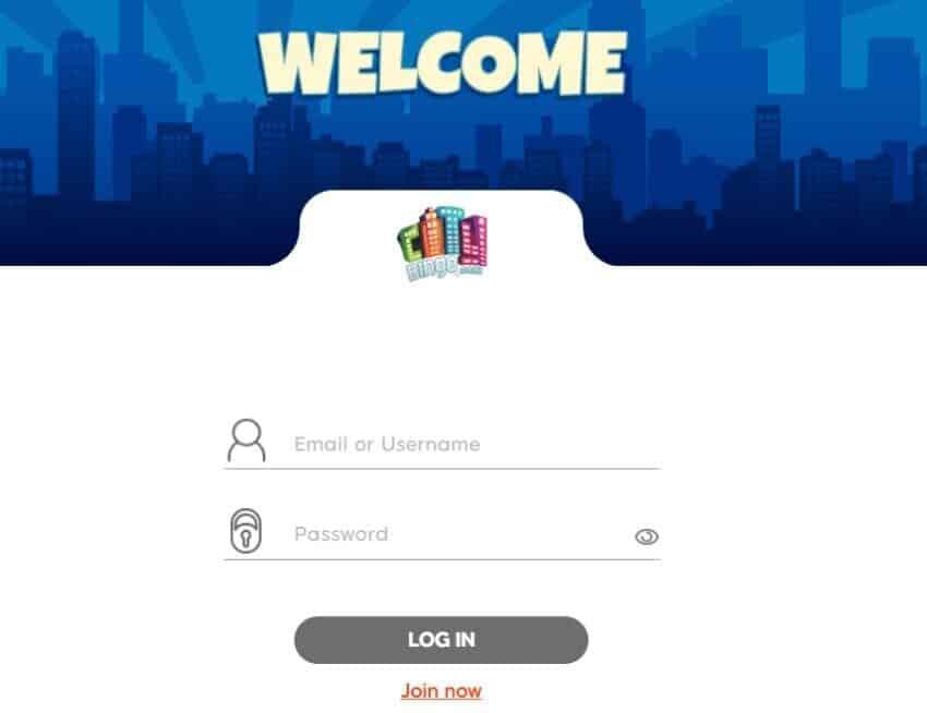 city bingo login