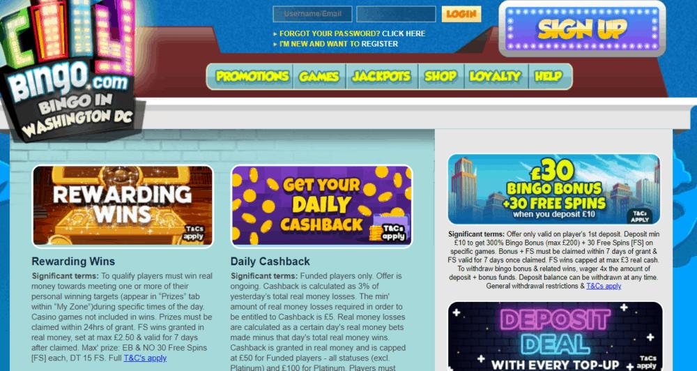 city bingo promo