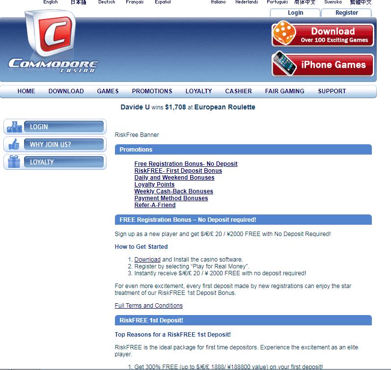 commodore casino Promotions