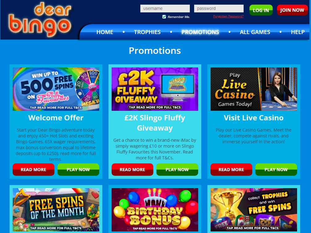 dear bingo Promotions