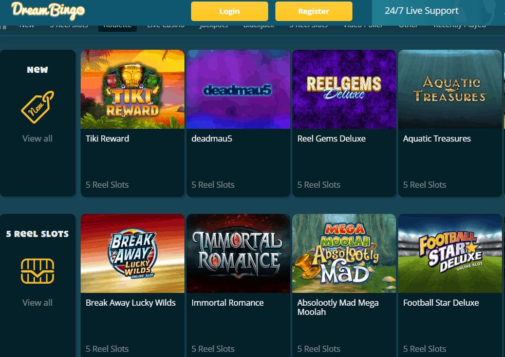 Dream Bingo GamePage