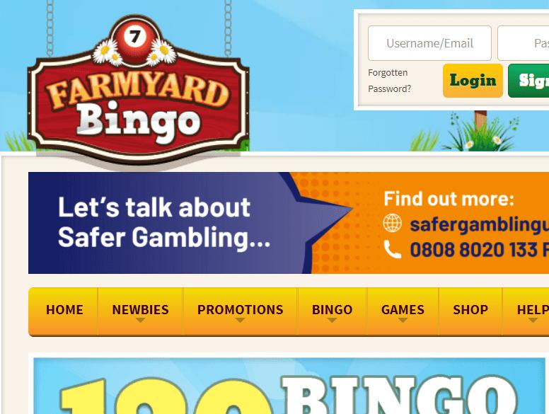farmyard bingo login