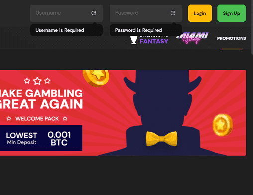 All British Casino login page