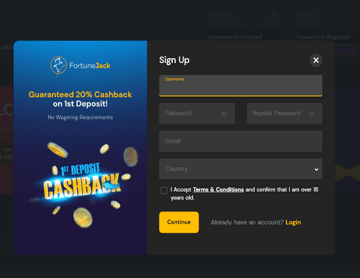 All British Casino sign up page