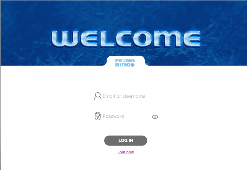 frozen bingo login