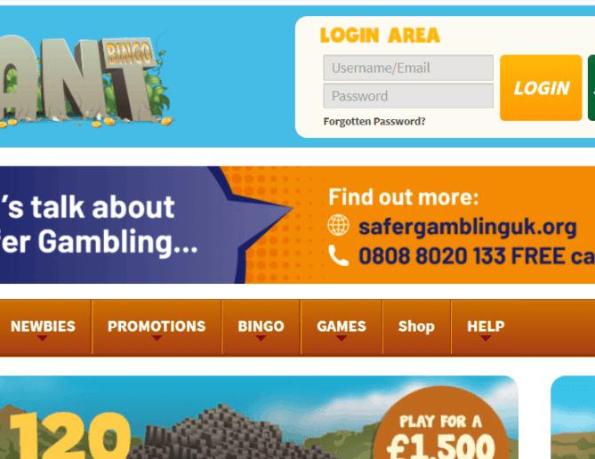 giant bingo login