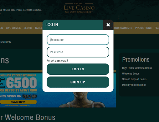 Bronze Casino login page