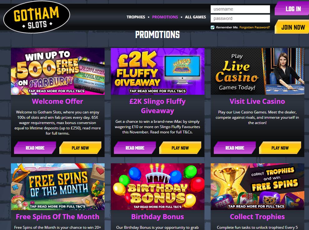 gotham slots Promotions