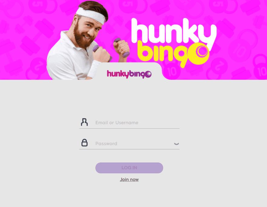 hunky bingo login