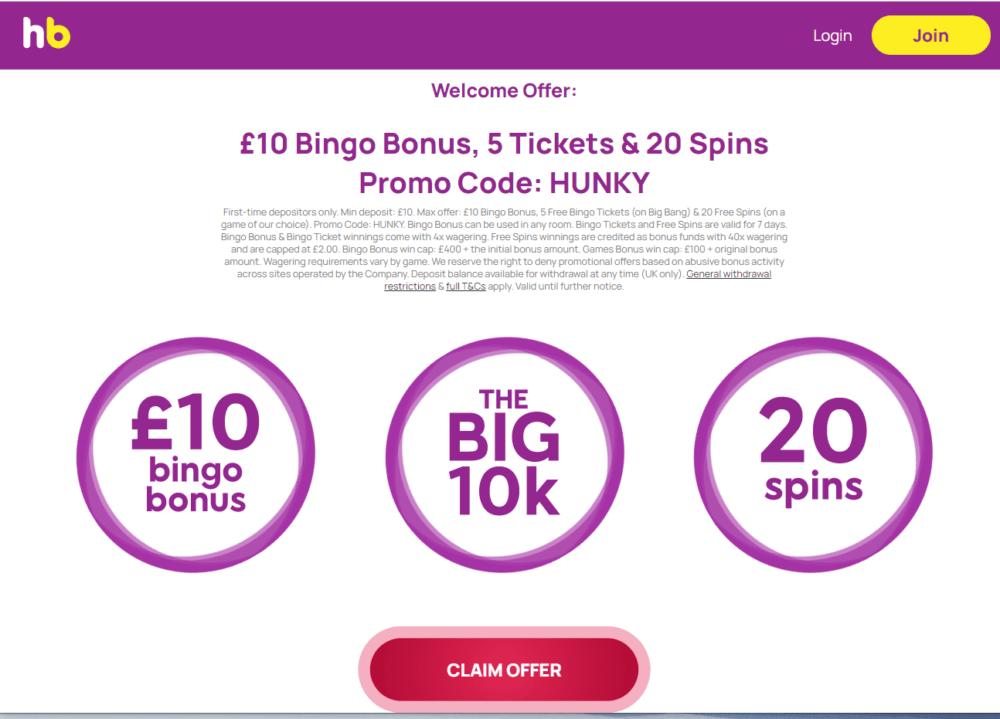 hunky bingo promo