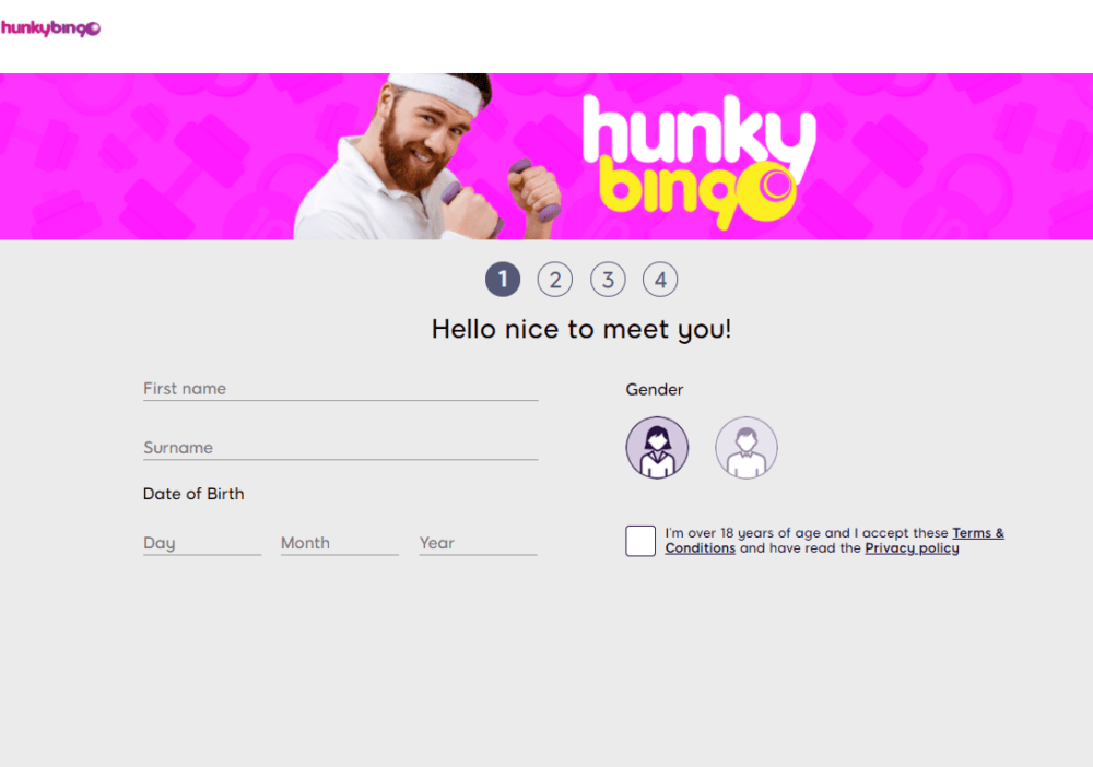 hunky bingo sign up
