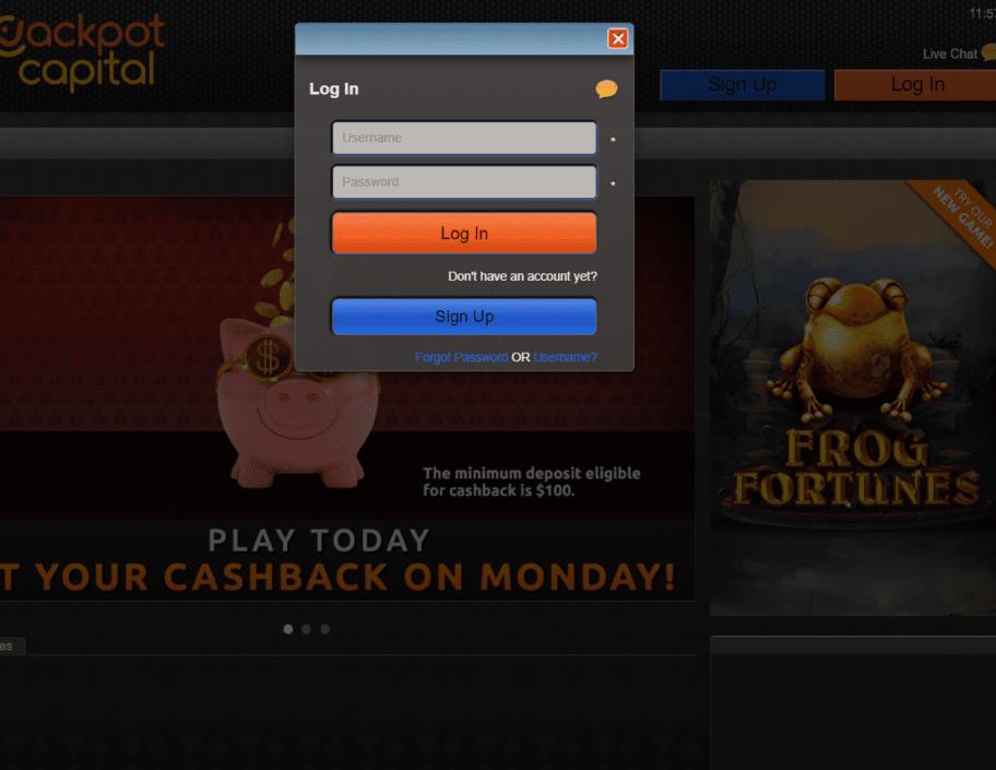 jackpot capital login