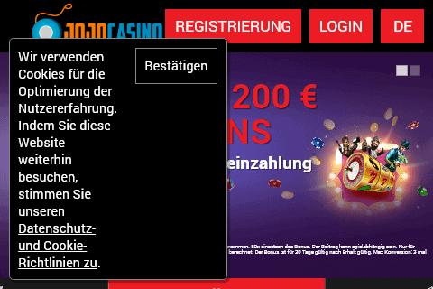 Jojo Casino Home Page