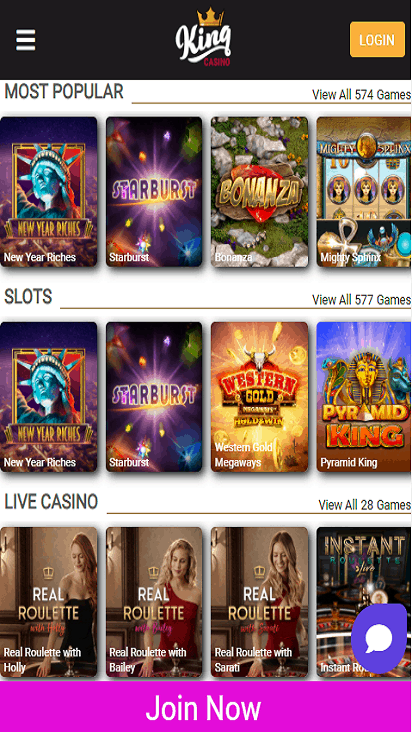 kingcasino game mobile