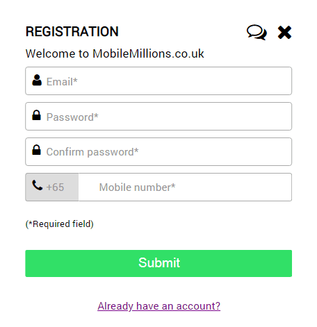 mobile millions sign page