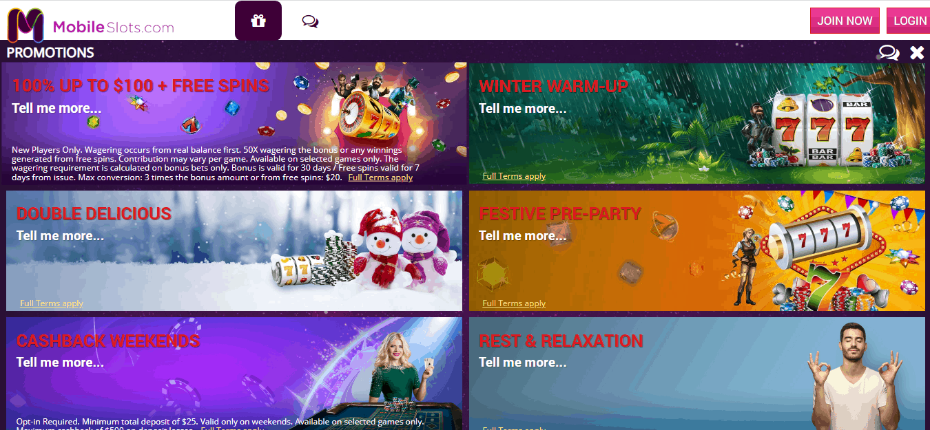 mobile slots promotion page