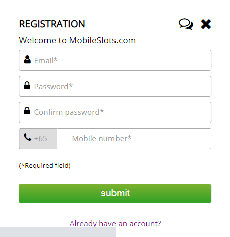 mobile slots signup pagef