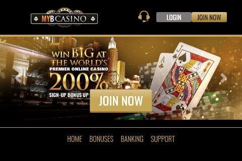 Myb Casino frontpage
