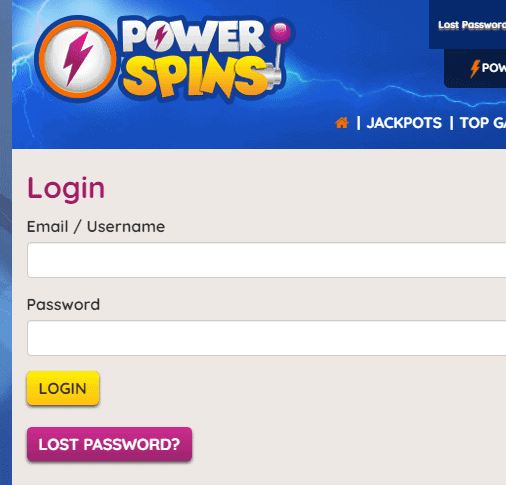 power spins login