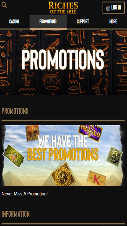 riches of the nile casino pomotion mobile