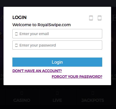 royal swipe casino log in page