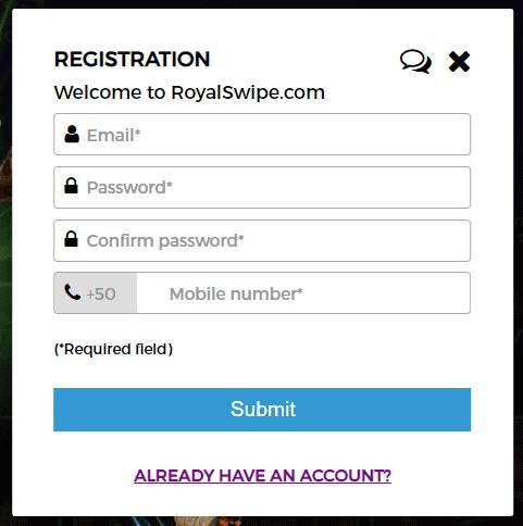 royal swipe casino reg page