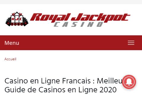 royal jackpot casino front image