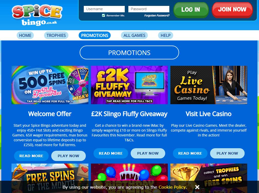 spice bingo Promotions