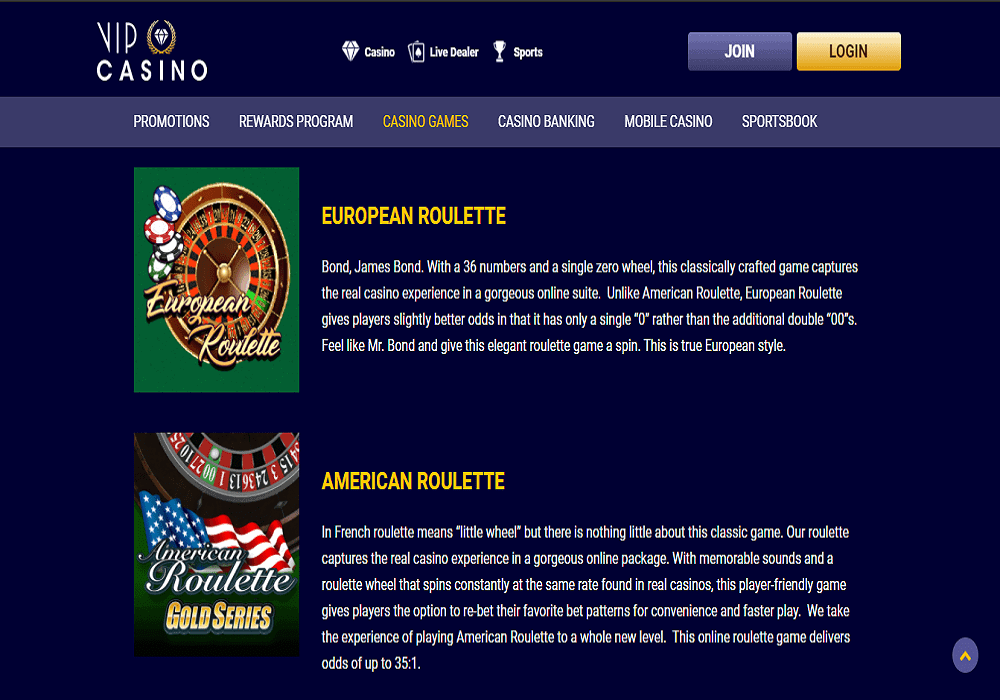 Bronze Casino games page