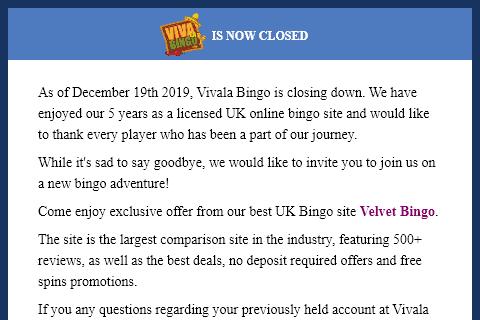 vivala bingo front image