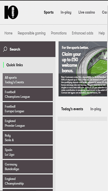 10 bet home mobile