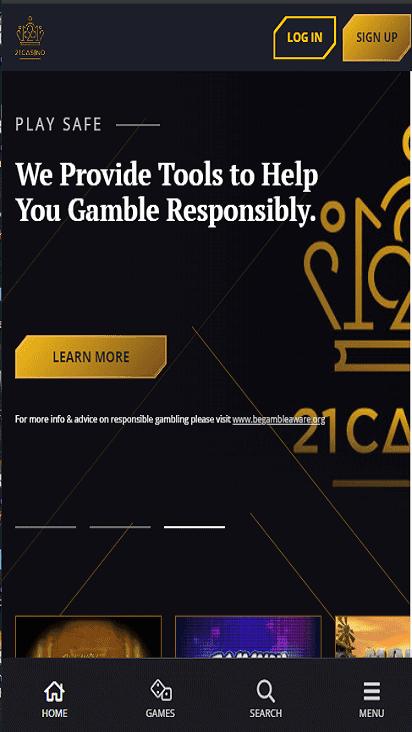 21 casino home mobile