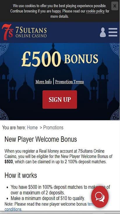7 Sultans Casino promo mobile