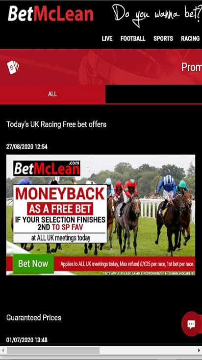 Bet Mclean promo mobile