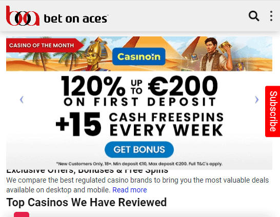 Bet on Aces front page