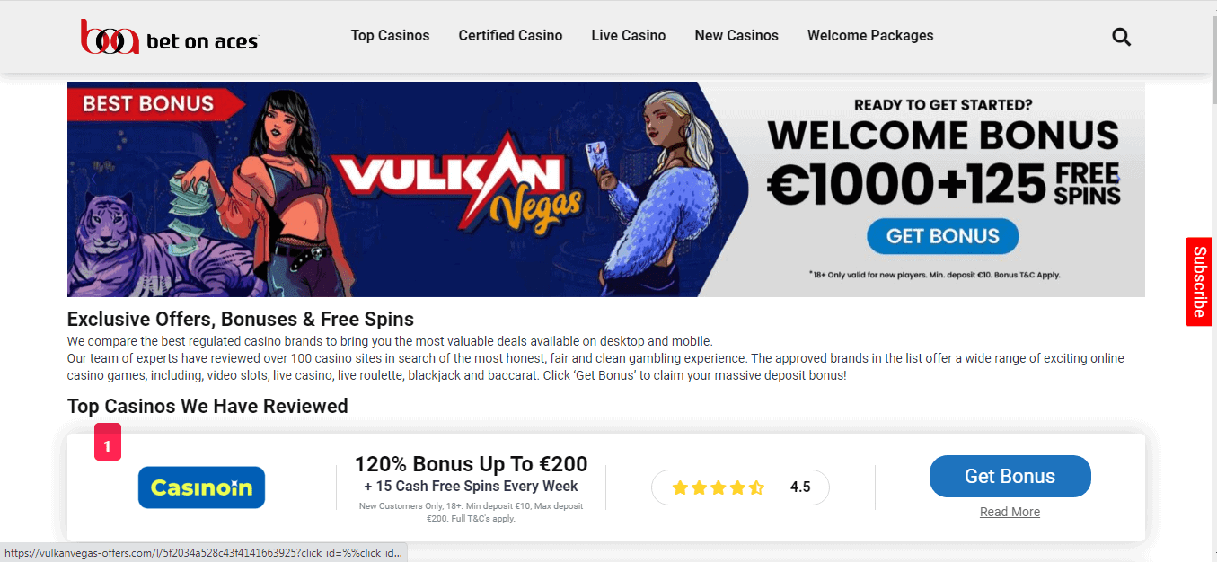 Bet on Aces homepage