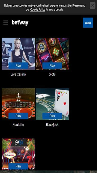 Betway Casinos game mobile
