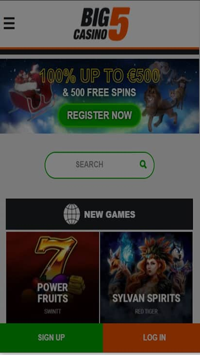 Big 5 Casino home mobile