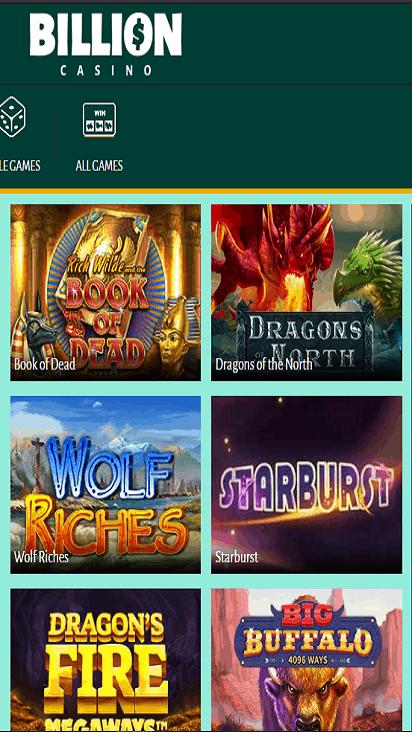 BillionCasino game mobile