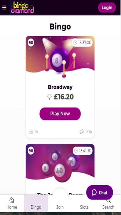 Bingo Diamond game mobile